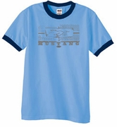 Ford Mustang Ringer T-shirts Legend Honeycomb Grille Adult Shirts