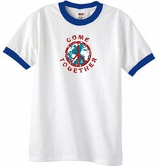 Peace Sign Shirt Come Together Ringer Shirt White/Royal