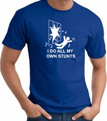 I Do My Own Stunts Crashing and Falling White Print Royal T-shirt