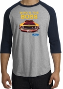 Ford Mustang Boss Raglan Shirts - Who's The Boss 302 Adult T-Shirts
