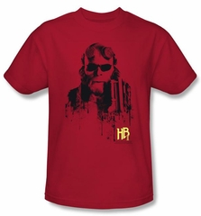 Hellboy II The Golden Army T-shirt Splatter Gun Adult Red Tee Shirt