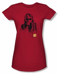 Hellboy II The Golden Army Juniors T-shirt Splatter Gun Red Tee Shirt