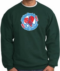 Peace Sign Sweatshirt - All You Need Is Love - Dark Green
