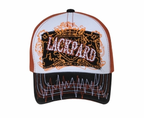 Two Tone Hat with Stitched Print - Lackpard Patch Cap - Texas Orange
