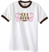 Ford Logo Ringer T-Shirts - 4x4 Diva Classic Car Adult Tee Shirts