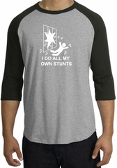 Stunts Crashing Falling Raglan Shirt Heather Grey/Black - White Print