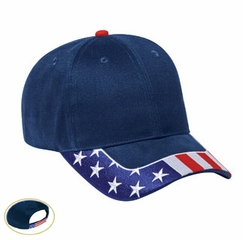 US Hat with Patriotic Flag Design - Pro Style Adjustable Cotton Cap