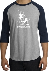 Stunts Crashing Falling Raglan Shirt Heather Grey/Navy - White Print