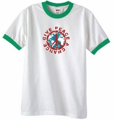 Peace Sign T-shirt Give Peace A Chance Ringer Tee White/Kelly Green