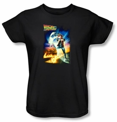 Back To The Future Ladies T-shirt Movie Poster Black Shirt