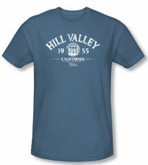 Back To The Future Slim Fit T-shirt Hill Valley 1955 Adult Slate Shirt