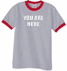 YOU ARE HERE Funny Novelty Adult Ringer T-shirt - Heather Grey/Red
