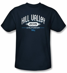Back To The Future II T-shirt Movie Hill Valley 2015 Adult Navy Shirt