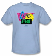 Back To The Future II T-shirt Movie Cafe 80s Adult Light Blue Shirt