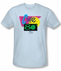 Back To The Future II Slim Fit T-shirt Cafe 80s Adult Light Blue Shirt