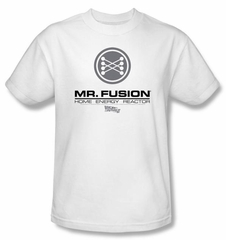 Back To The Future II T-shirt Movie Mr. Fusion Logo Adult White Shirt