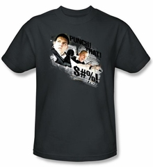 Hot Fuzz T-shirt Movie Punch That Adult Charcoal Tee Shirt