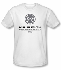 Back To The Future II Slim Fit T-shirt Mr. Fusion Logo Adult White Shirt