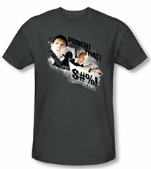 Hot Fuzz T-shirt Movie Punch That Adult Charcoal Slim Fit Tee Shirt