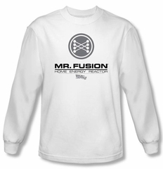 Back To The Future II Long Sleeve T-shirt Mr. Fusion Logo White Shirt