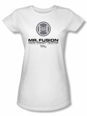 Back To The Future Juniors T-shirt Movie Mr. Fusion Logo White Shirt