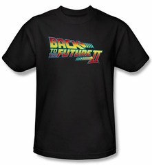 Back To The Future II  T-shirt Movie Logo Adult Black Tee Shirt