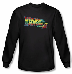 Back To The Future II Long Sleeve T-shirt Logo Black Tee Shirt