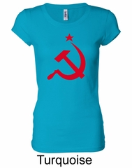 Russian Shirt Hammer and Sickle Red Print Ladies Longer Length Shirt
