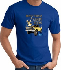 Ford Truck T-shirt - Driving and Tagging Bucks Adult Royal Tee Shirt