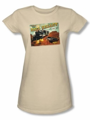 Back To The Future III Juniors T-shirt Movie Valley Postcard Tee Shirt