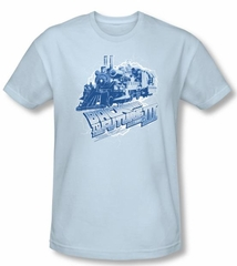 Back To The Future III Slim Fit T-shirt Time Train Blue Adult Shirt