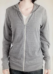 Alternative Apparel Ladies Hoodie Sweatshirt Heather Zip Grey Hoody