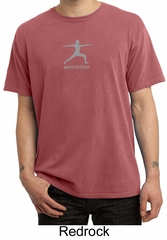 Mens Yoga T-shirt – Warrior 2 Pose Meditation Pigment Dyed Tee Shirt