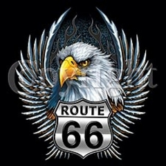 Truck Art T-Shirts - Route 66 Eagle Adult Tee Shirts