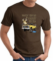Ford Truck T-shirt - Driving and Tagging Bucks Adult Brown Tee Shirt