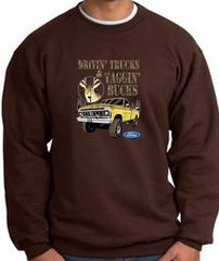 Ford Truck Sweatshirt Driving and Tagging Bucks Brown Sweat Shirt
