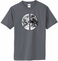 Peace Shirt Peace Earth Satellite Image Organic Tee Charcoal Grey
