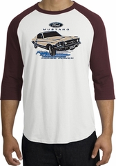 Ford Mustang Raglan Shirt - Horsepower Adult White/Maroon T-Shirt