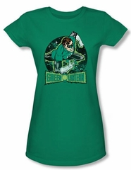 Green Lantern Juniors T-shirt In The Spotlight Kelly Green Tee