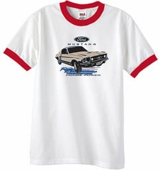 Ford Mustang Ringer T-Shirt - Horsepower Adult White/Red Tee Shirt