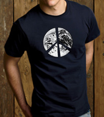 PEACE EARTH Sign Symbol 100% Organic Cotton Adult T-shirt - Navy
