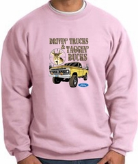 Ford Truck Sweatshirt Driving and Tagging Bucks Pink Sweat Shirt