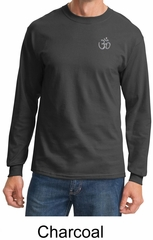 Mens Yoga T-shirt – Aum Hindu Patch Pocket Print Long Sleeve Shirt