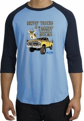 Ford Truck Raglan Shirt Driving and Tagging Bucks Carolina Blue/Navy