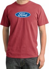 Ford Logo Pigment Dyed T-Shirt - Oval Emblem Adult Dashing Red Tee