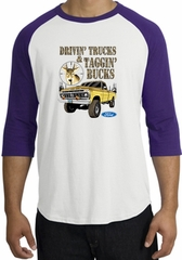 Ford Truck Shirt Driving and Tagging Bucks Raglan Tee White/Purple