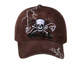 Skull Embroidered 3D Hat – Lackpard Cotton Cap - Dark Brown