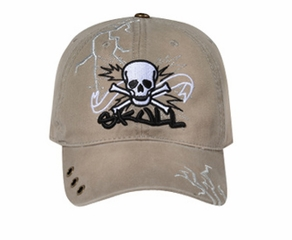 Skull Embroidered 3D Hat – Lackpard Cotton Cap - Dark Khaki