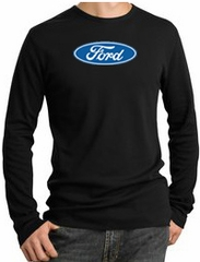 Ford Logo Shirt - Long Sleeve Thermal - Oval Adult Black Tee