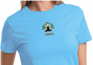 Ladies Yoga T-shirt - Embroidered Patch Lotus Tee